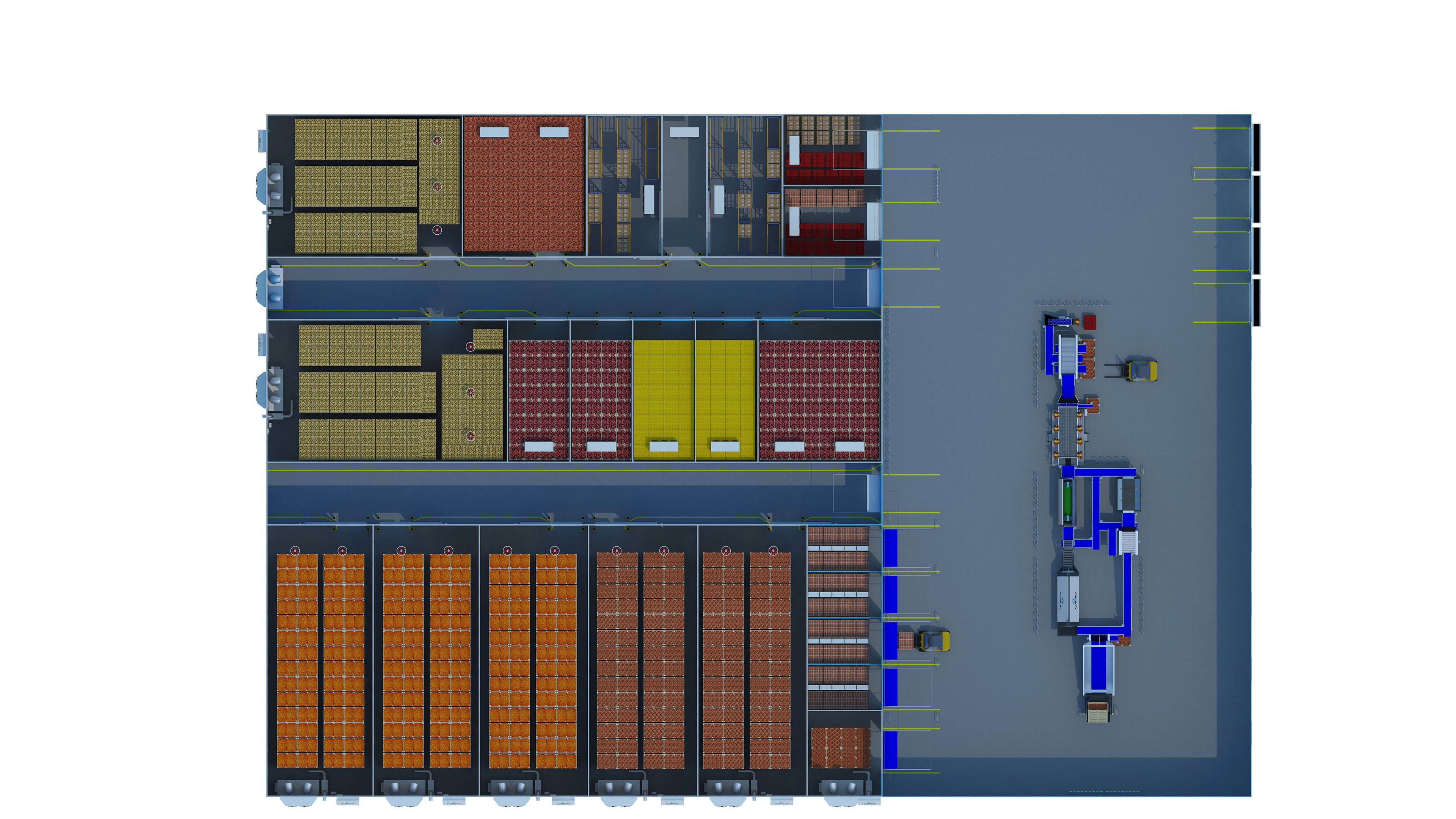 top view of a 5000 tons of storage distribution centre