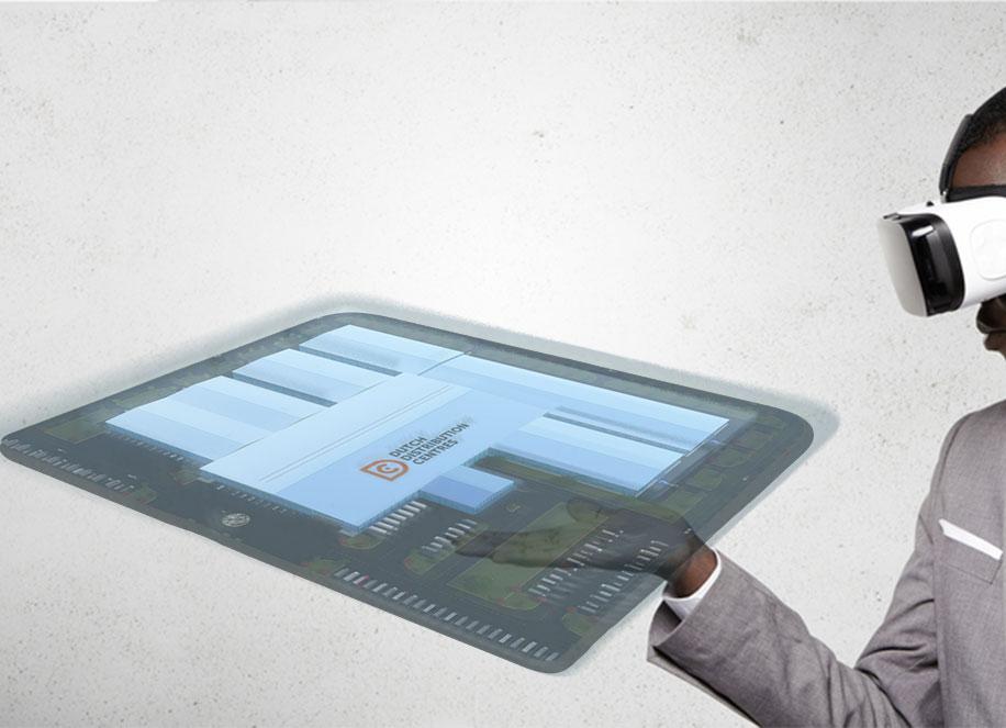 Man looks at a virtual reality model