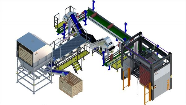Weighing & paltizing line