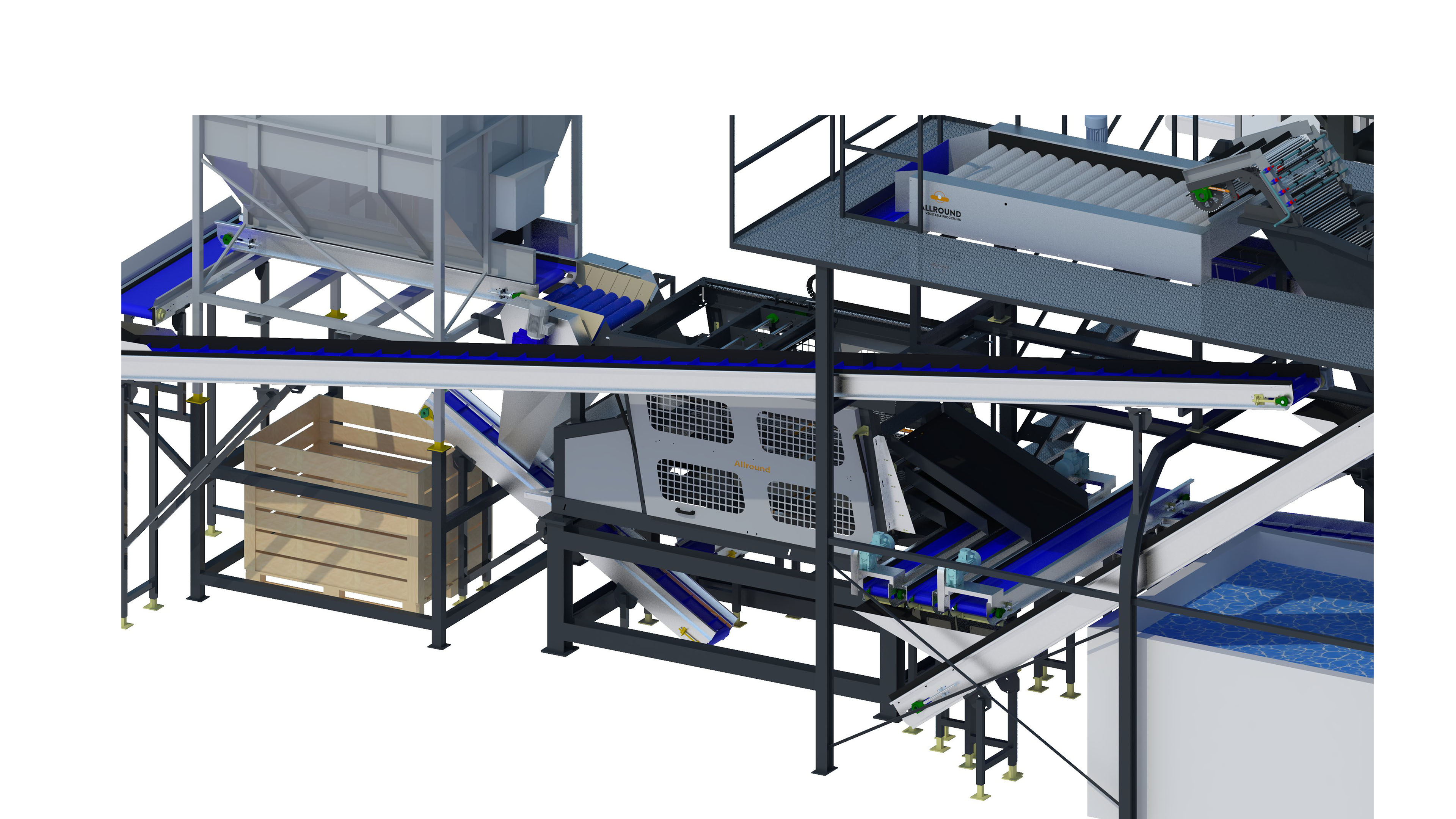 TABLE INDUSTRIAL POTATO WASHING & PACKAGING LINE